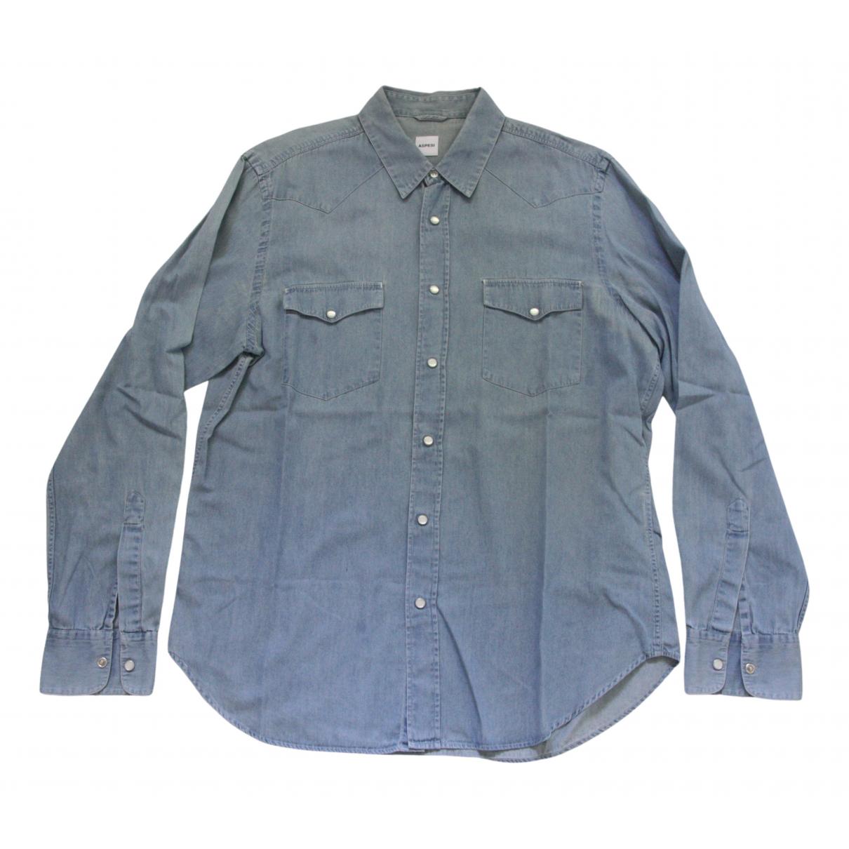 Aspesi - Chemises   pour homme en denim - bleu