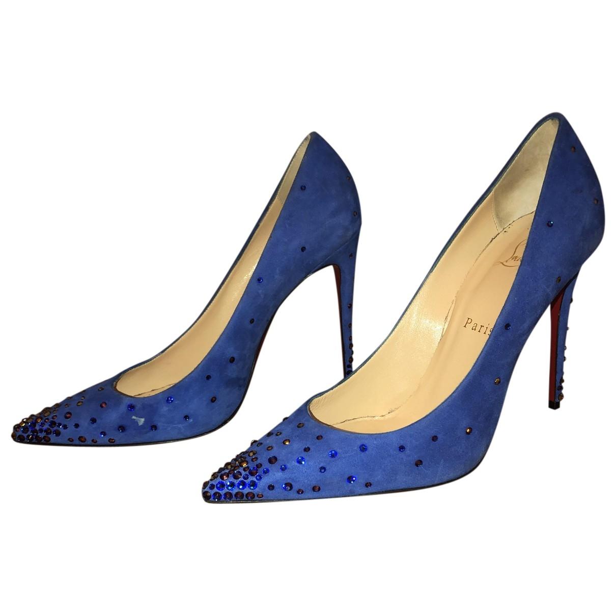 Christian Louboutin \N Blue Suede Heels for Women 39.5 EU