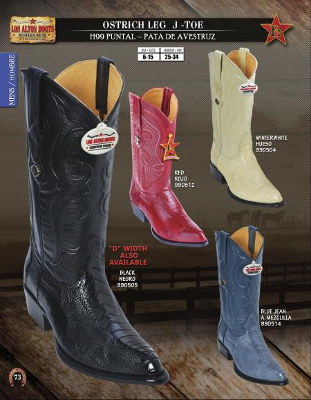 JToe Genuine Ostrich Leg Mens Western Cowboy Boots Diff.Colors/Sizes