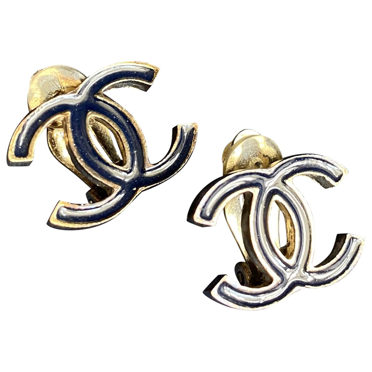 Chanel CC OhrRing in  Marine Metall