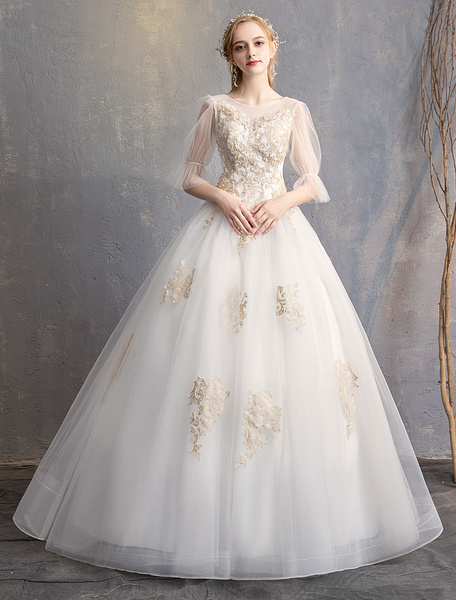 Milanoo Princess Wedding Dresses Ball Gown Backless Half Sleeve Illusion Lace Beaded Maxi Bridal Dress