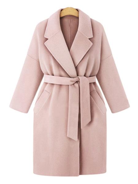 Milanoo Mujer de la capa del abrigo rosa de cuello de cobertura Escudo de manga larga de encaje hasta invierno