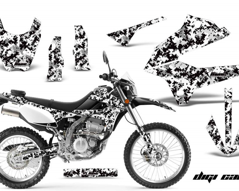 AMR Racing Dirt Bike Decals Graphics Kit Sticker Wrap For Kawasaki KLX250 2008-2018áDIGICAMO WHITE