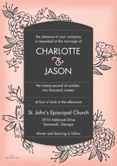 Wedding Invitations 5x7 Cards, Premium Cardstock 120lb with Scalloped Corners, Card & Stationery -Woodcut Floral Invitation