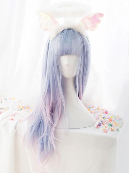 Milanoo Dulce peluca Lolita Harajuku Unicorn Baby Blue Blunt Bang Pelucas de cabello Lolita