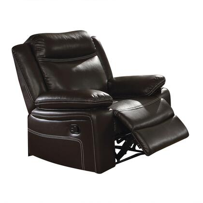 Corra Collection 52052 38 Recliner with External Latch Handle  Pocket Coil Seating  Pillow Top Arms  Tight Cushion  Wood Frame and Bycast PU Leather