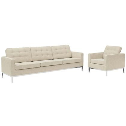 Loft Collection EEI-2443-BEI-SET Living Room Set with Sofa  Armchair  Removable Zippered Cushion Cover  Track Arms  Stainless Steel Frame and
