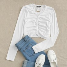 Buttoned Front Ruched Crop Top