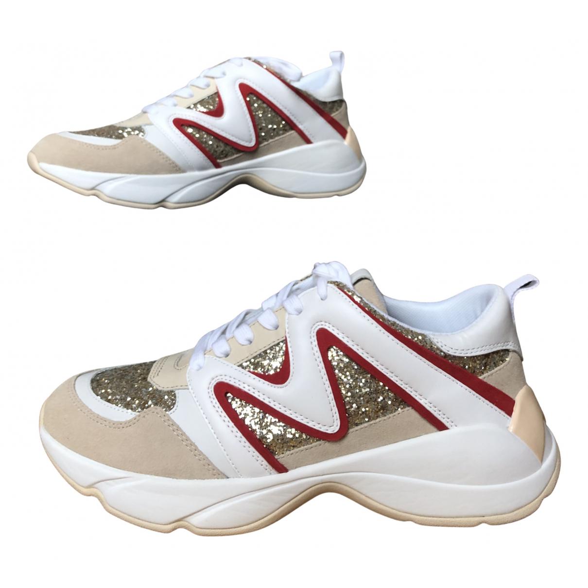 Maje - Baskets   pour femme en cuir - beige