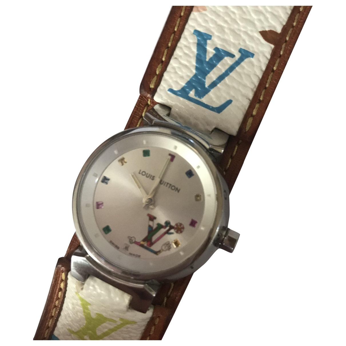 Louis Vuitton Tambour White Steel watch for Women \N