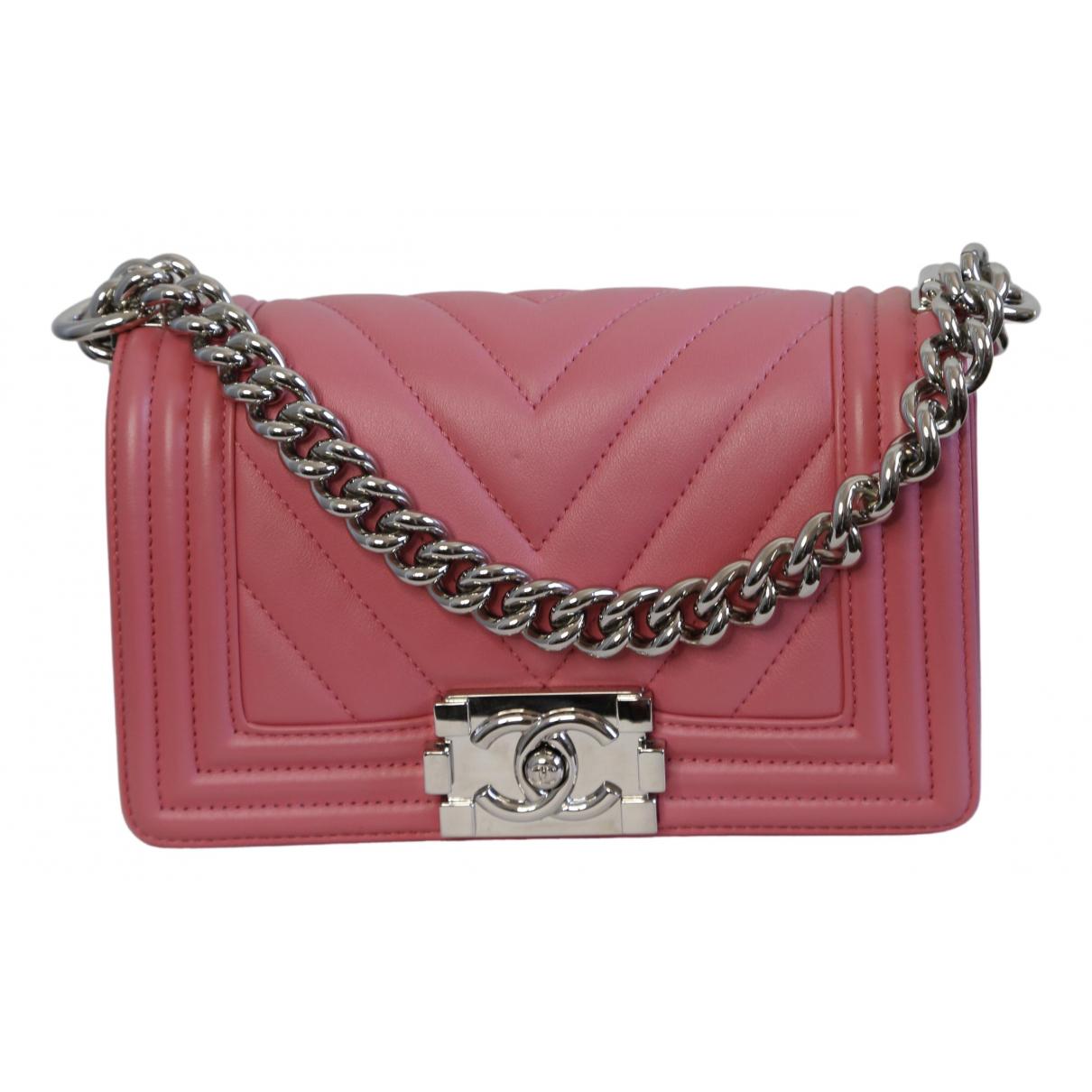 Chanel - Sac a main Boy pour femme en cuir - rose