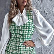 Tweed Weste mit Knopfen vorn und Plaid Muster ohne Bluse