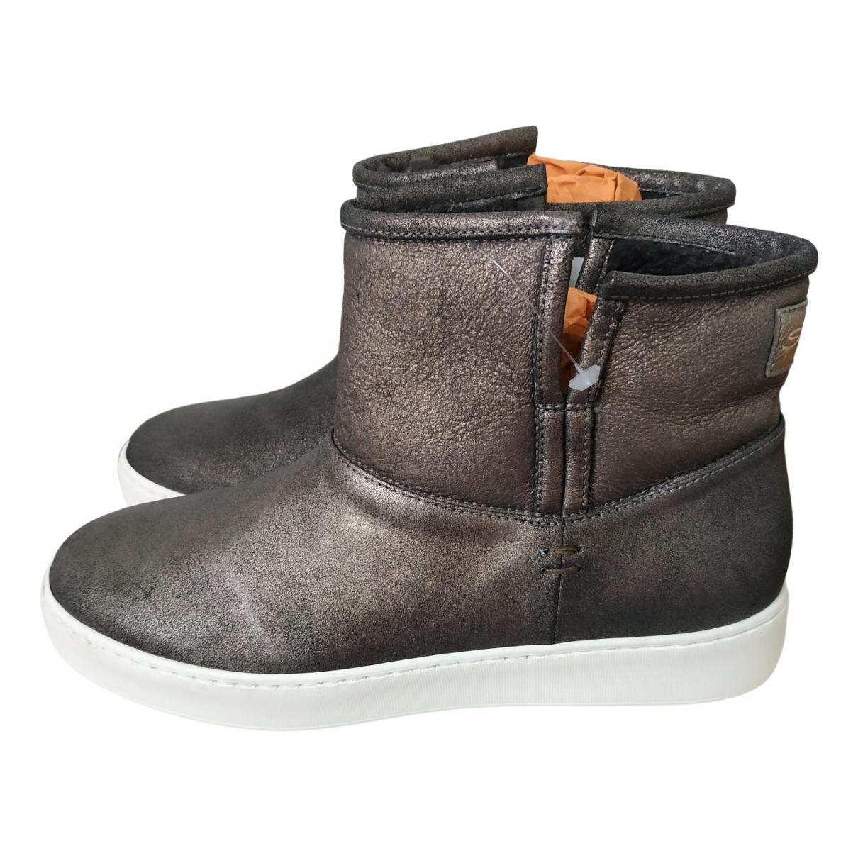 Santoni - Boots   pour femme en suede - gris