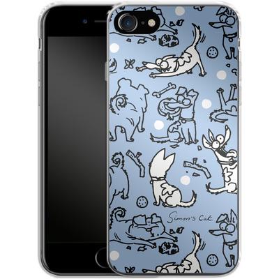 Apple iPhone 8 Silikon Handyhuelle - Happy Dogs Pattern von Simons Cat