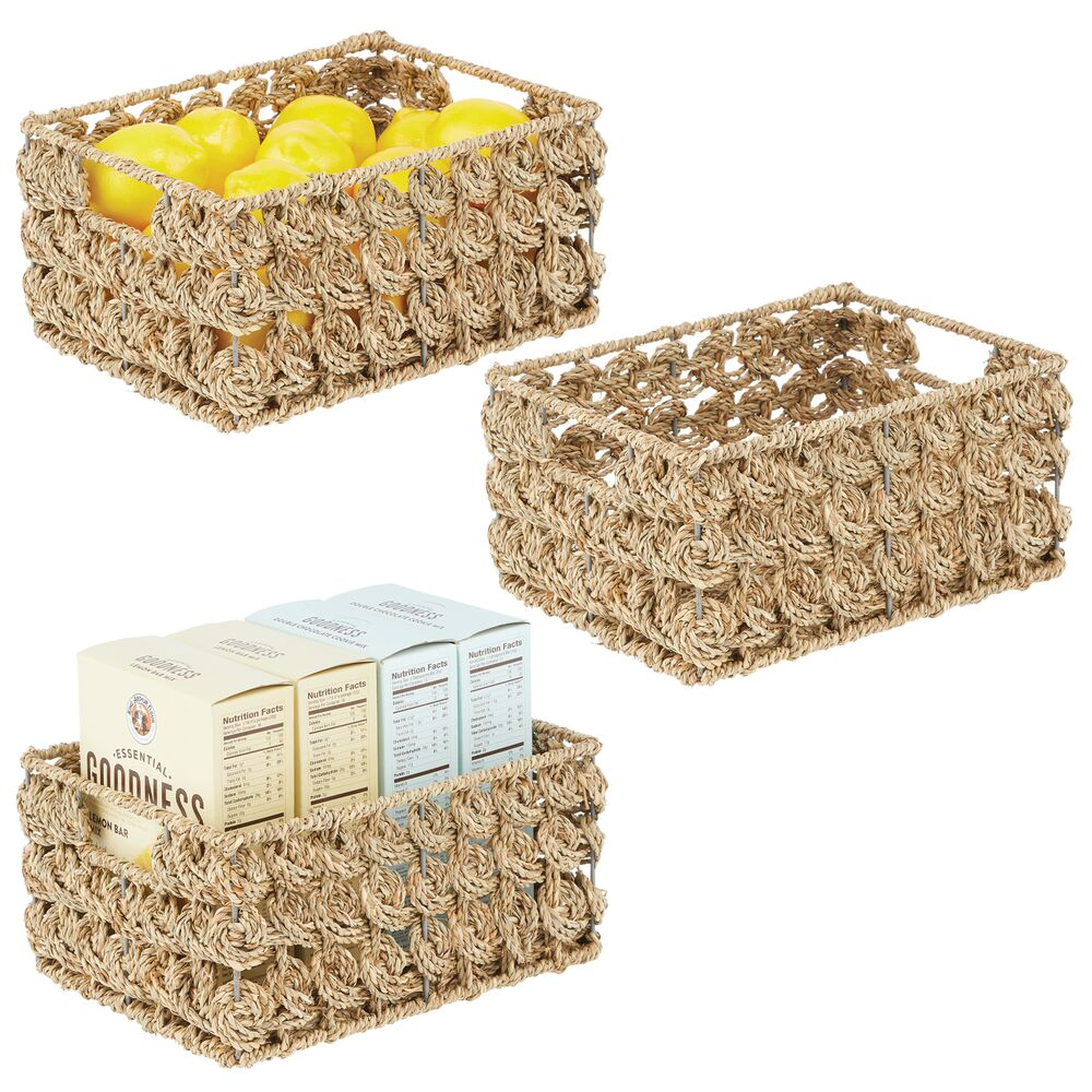 mDesign Woven Seagrass Storage Baskets - Pack of in Natural, 16
