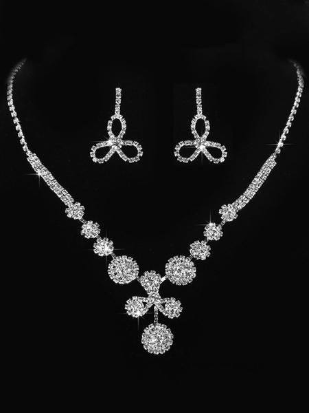 Milanoo Wedding Jewelry Set Silver Rhinestones Flower Bridal Earrings Necklace Set
