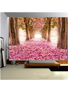 Romantic Pink Tree Path 3D Printed Roller Shades