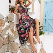 Maxi Kleid mit Knoten und Blatt Muster