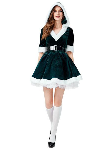 Milanoo Christmas Costume Green Women\'s Dress Polyester Fabric