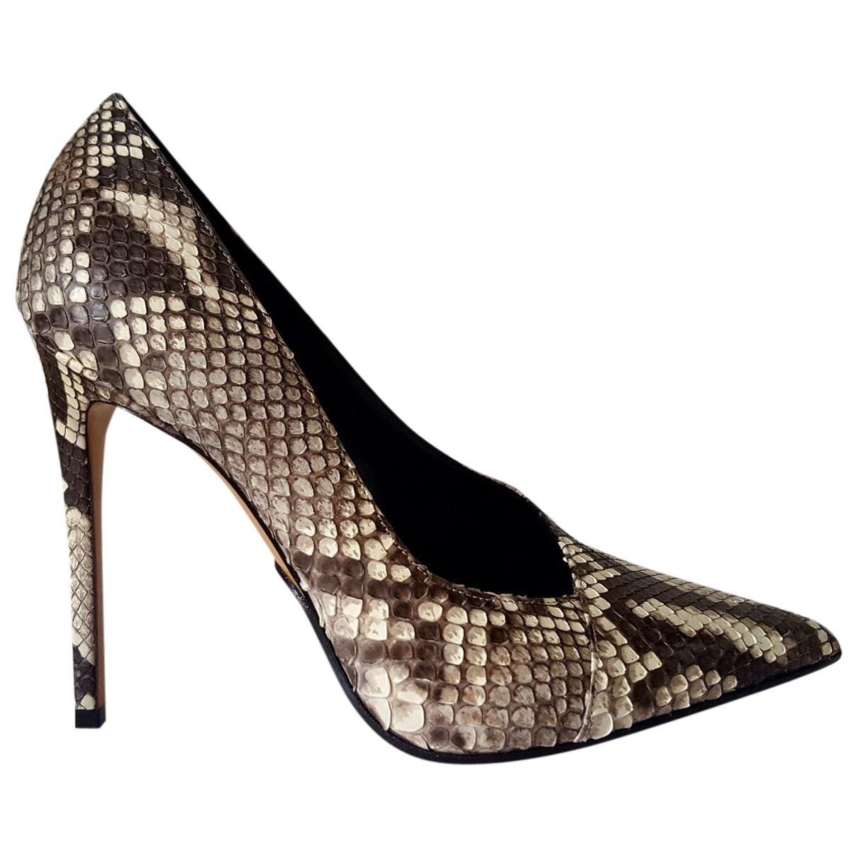 Balmain - Escarpins   pour femme en python - beige