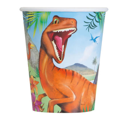 Dinosaur 9oz Paper Cups, 8ct For Birthday Party