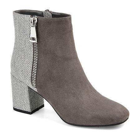Journee Collection Womens Sarah Block Heel Booties, 12 Medium, Gray