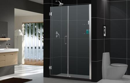 SHDR-20587210S-06 Unidoor 58-59 In. W X 72 In. H Frameless Hinged Shower Door With Shelves In Oil Rubbed