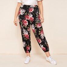 Pantalones Extra Grande Floral Multicolor Casual