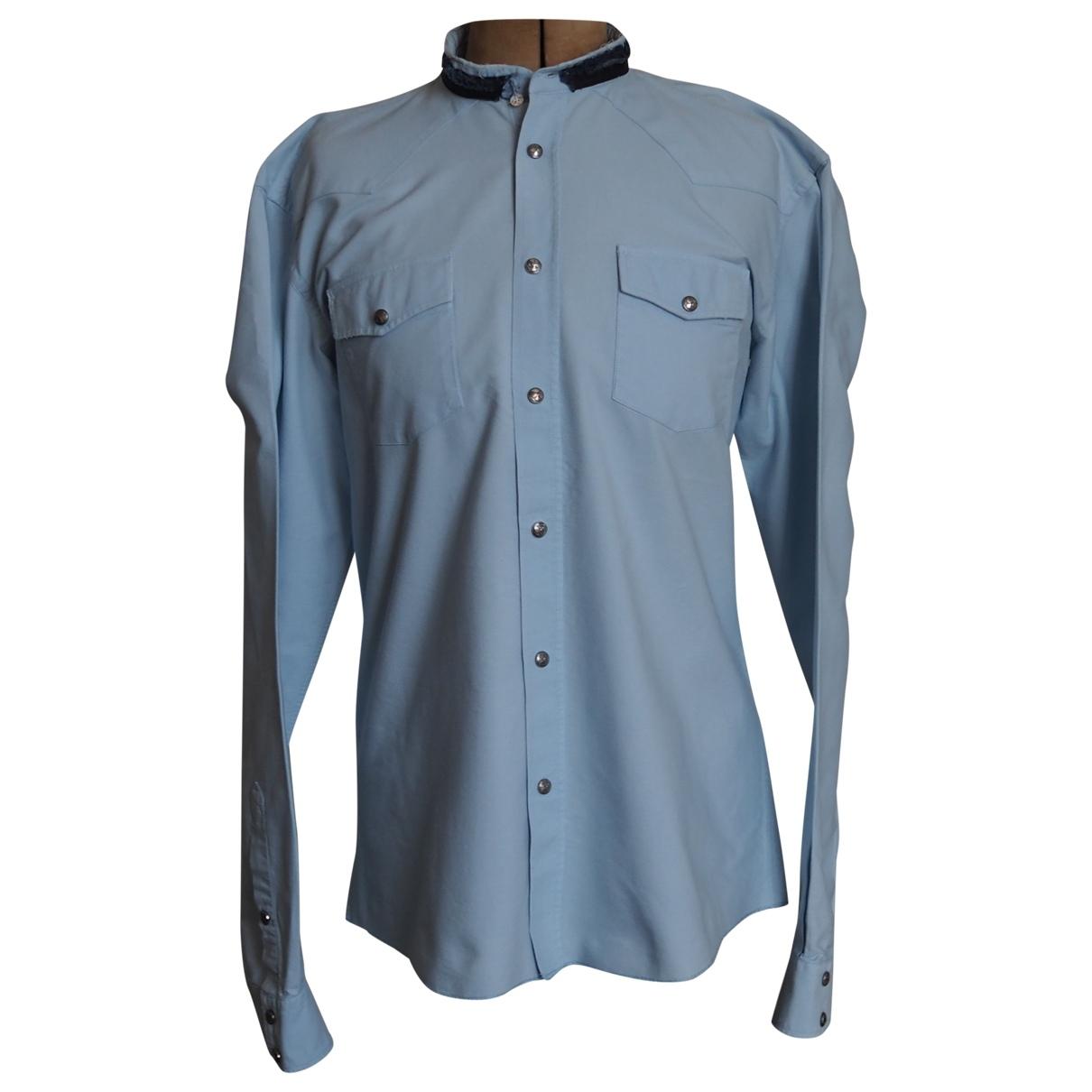 Balmain \N Blue Cotton Shirts for Men 42 EU (tour de cou / collar)