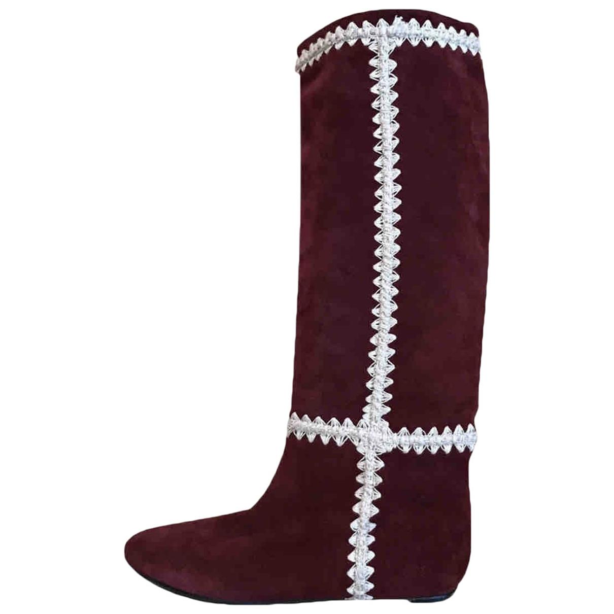Casadei \N Burgundy Suede Boots for Women 36 EU