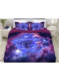 Pinkish Purple Galaxy Soft 3D Printed 4-Piece Polyester Bedding Sets/Duvet Covers