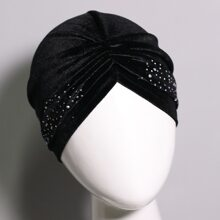 Rhinestone Decor Turban Hat