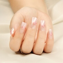 24 Stuecke Kuenstlicher Nagel mit Blumen Muster & 1 Stueck Nagelfeile & 1 Blatt Klebeband