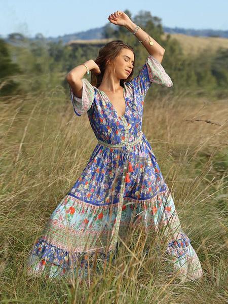 Milanoo Boho Dresses Maxi Summer Women V Neck Floral Print Tassels Sexy Split Long Beach Dress