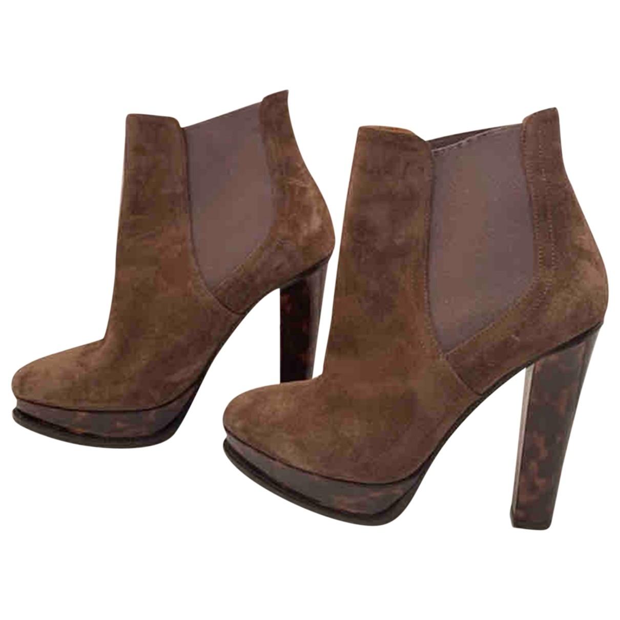 Ralph Lauren - Boots   pour femme en suede - marron
