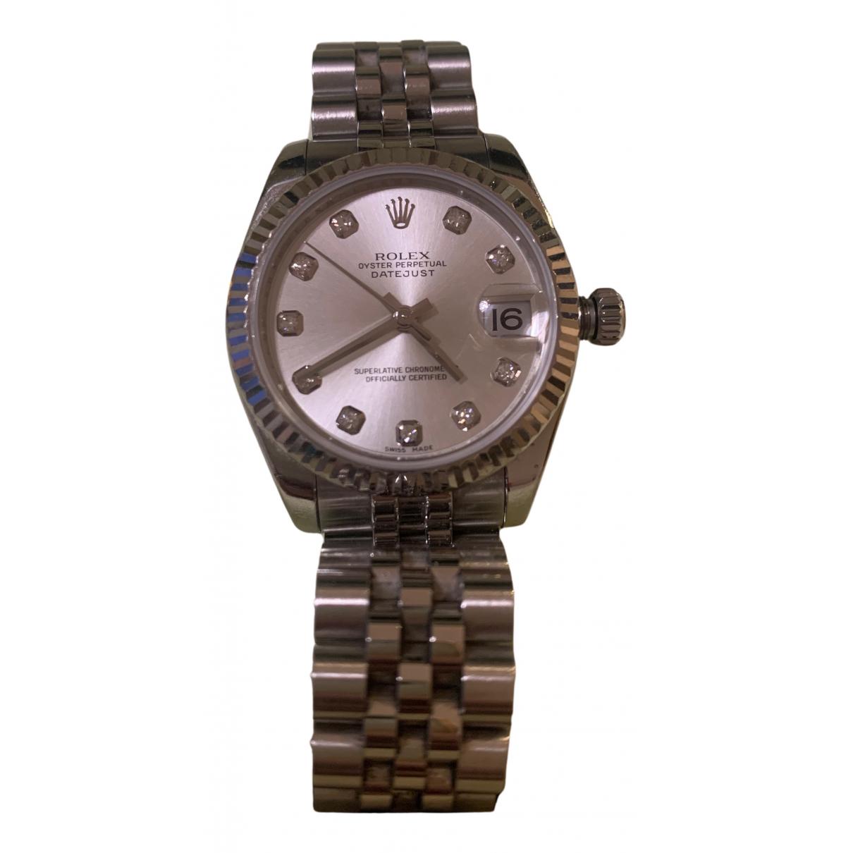 Rolex - Montre Datejust 31mm pour femme en acier - argente