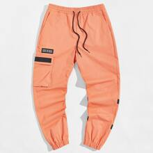 Men Drawstring Waist Slogan Patched Cargo Pants
