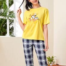 ROMWE X PEANUTS Cartoon Graphic Tee & Plaid Pants PJ Set