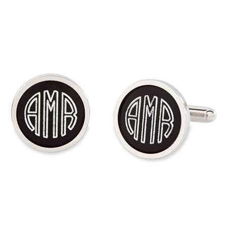 Personalized Anodized Aluminum Round Cuff Links, One Size , Gray