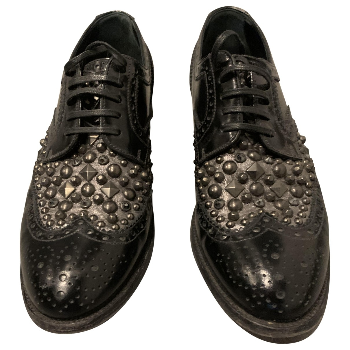 Dolce & Gabbana \N Black Leather Lace ups for Women 38 IT