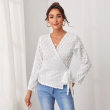 Surplice Neck Knot Fringe Top