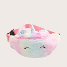 Riñonera de niñas mullida con diseño de unicornio