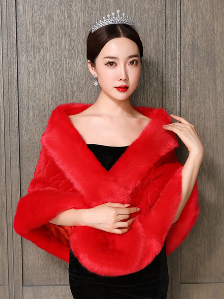 Milanoo Wedding Wrap Red Sleeveless Accessories Faux Fur Buttons Bridal Cover Ups