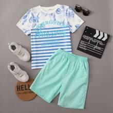 Boys Slogan and Tropical Print Top & Shorts Set