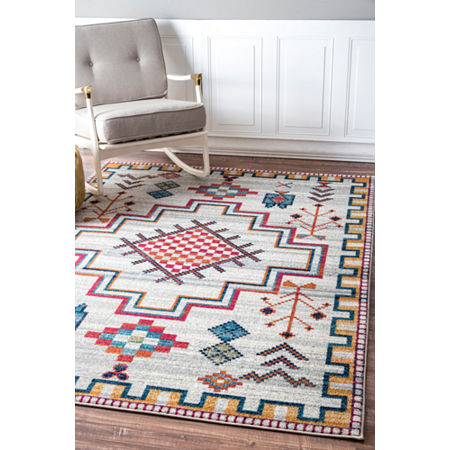 nuLoom Richelle Tribal Medallion Rug, One Size , Silver