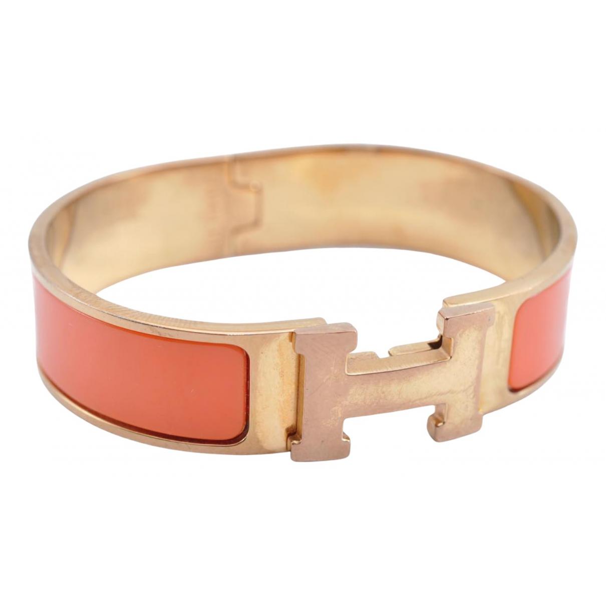 Hermes - Bracelet Clic H pour femme en plaque or - orange