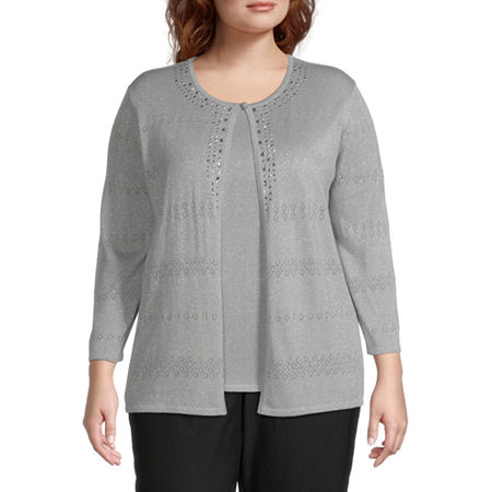 Alfred Dunner Classics Womens Round Neck 3/4 Sleeve Layered Sweaters-Plus, 1x , Silver