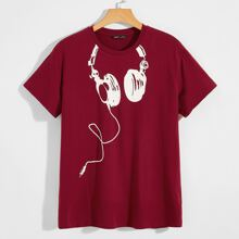 T-Shirt mit Headset Muster