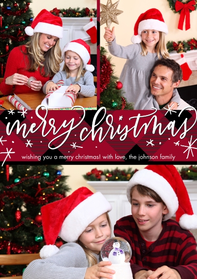 Christmas Photo Cards 5x7 Cards, Premium Cardstock 120lb, Card & Stationery -Christmas Plaid Script by Tumbalina