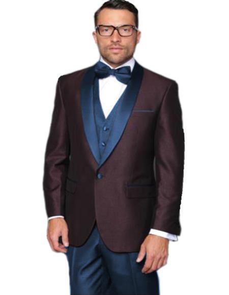Alberto Nardoni Burgundy Plum And Navy Blue Lapel Wedding Prom Suit